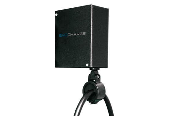 The part of an EvoCharge charging station that holds up the EvoCharge Reel, on a white background