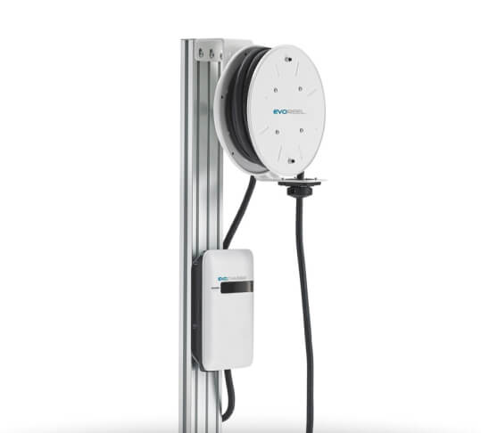 An EvoCharge charging station with charger and reel, on a white background