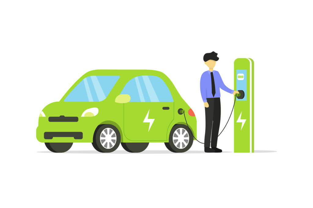 An animated icon of a man charging a green car at an electric charging station