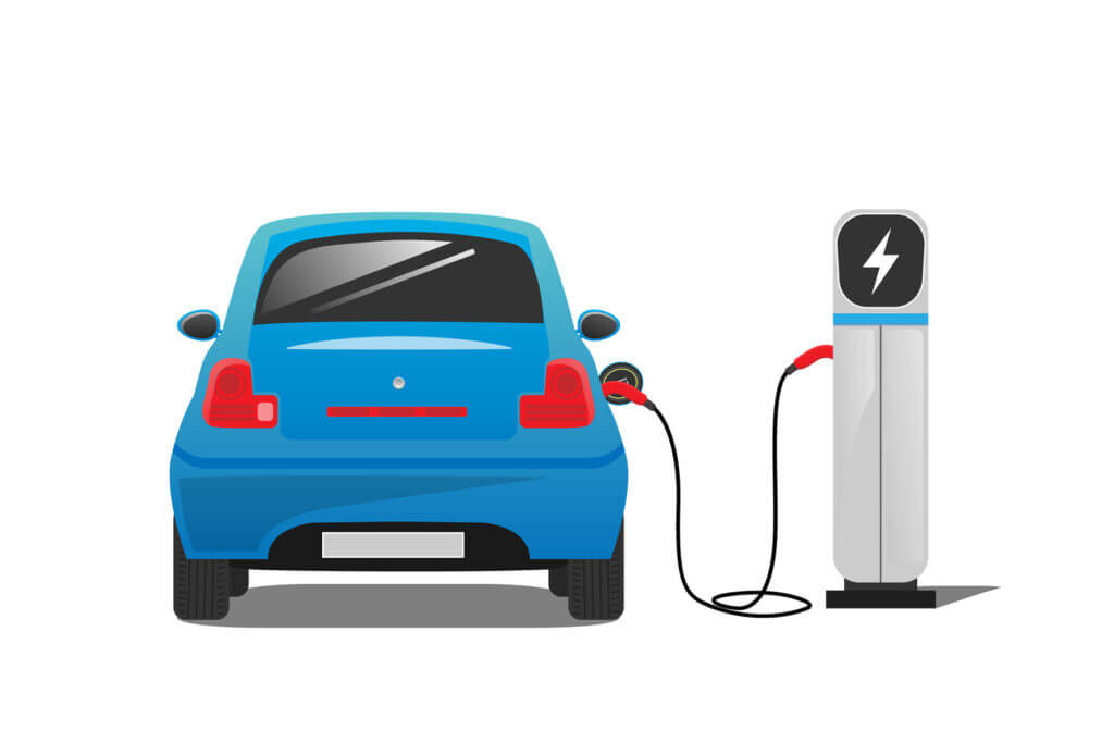 An animated icon of a blue car charging at an electric charging station