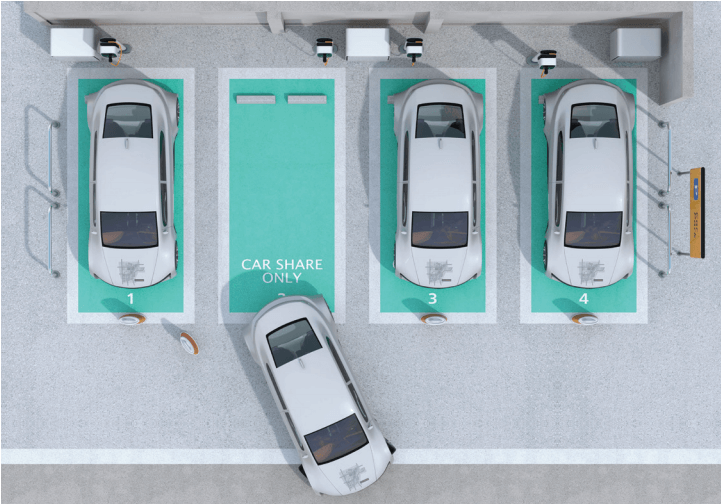 An aerial view of four parking spots with cars at EvoCharge charging stations