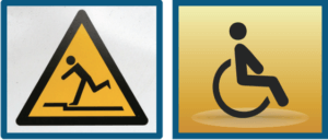 Two hazard icons, the first one of someone slipping and the second of someone in a wheelchair