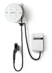 An EvoCharge charger and EvoReel product on a white background