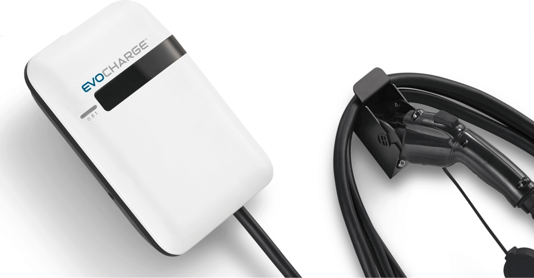 A zoomed in view of an EvoCharge charger