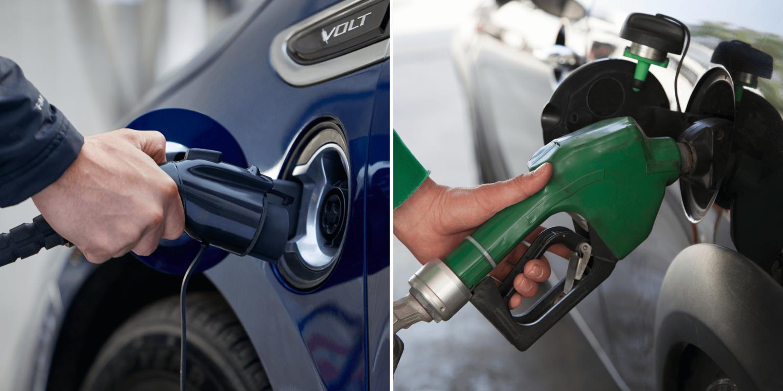 An electric charging plug versus a gas pump
